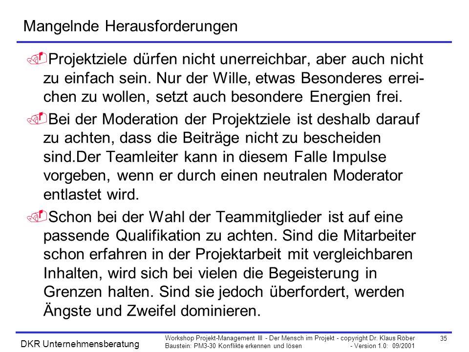 35 Workshop Projekt-Management III - Der Mensch im Projekt - copyright Dr. Klaus Röber Baustein: PM3-30 Konflikte erkennen und lösen - Version 1.0: 09
