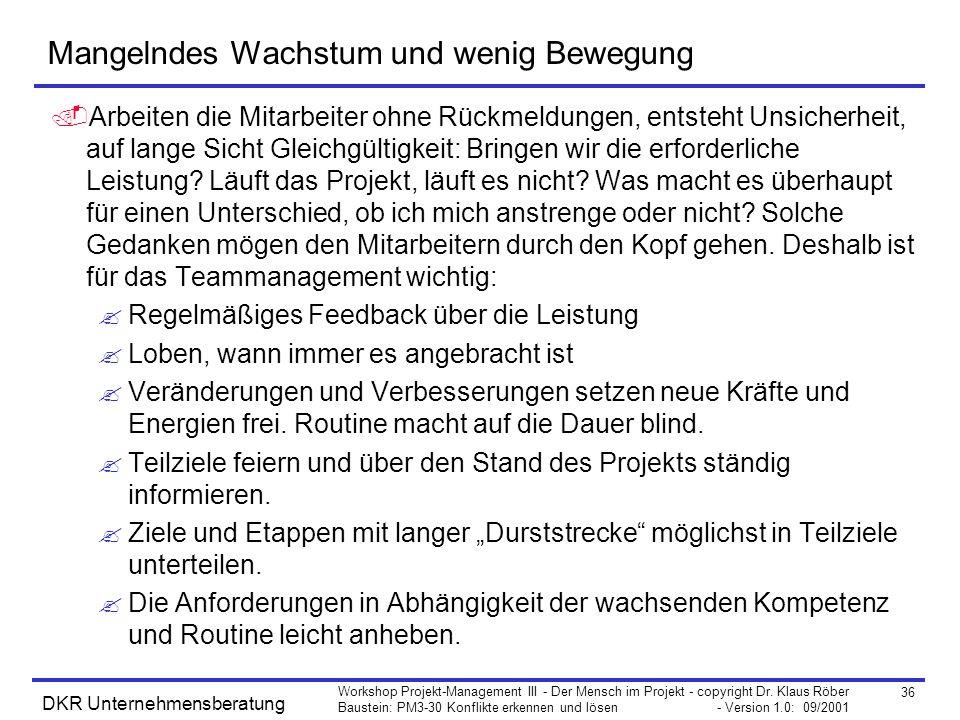 36 Workshop Projekt-Management III - Der Mensch im Projekt - copyright Dr. Klaus Röber Baustein: PM3-30 Konflikte erkennen und lösen - Version 1.0: 09