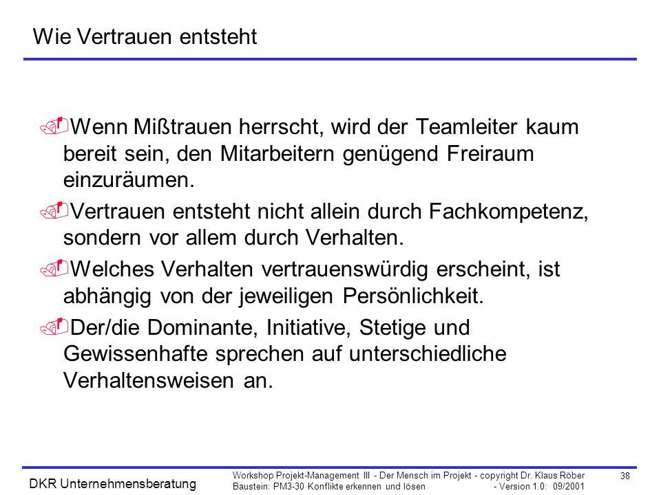 38 Workshop Projekt-Management III - Der Mensch im Projekt - copyright Dr. Klaus Röber Baustein: PM3-30 Konflikte erkennen und lösen - Version 1.0: 09
