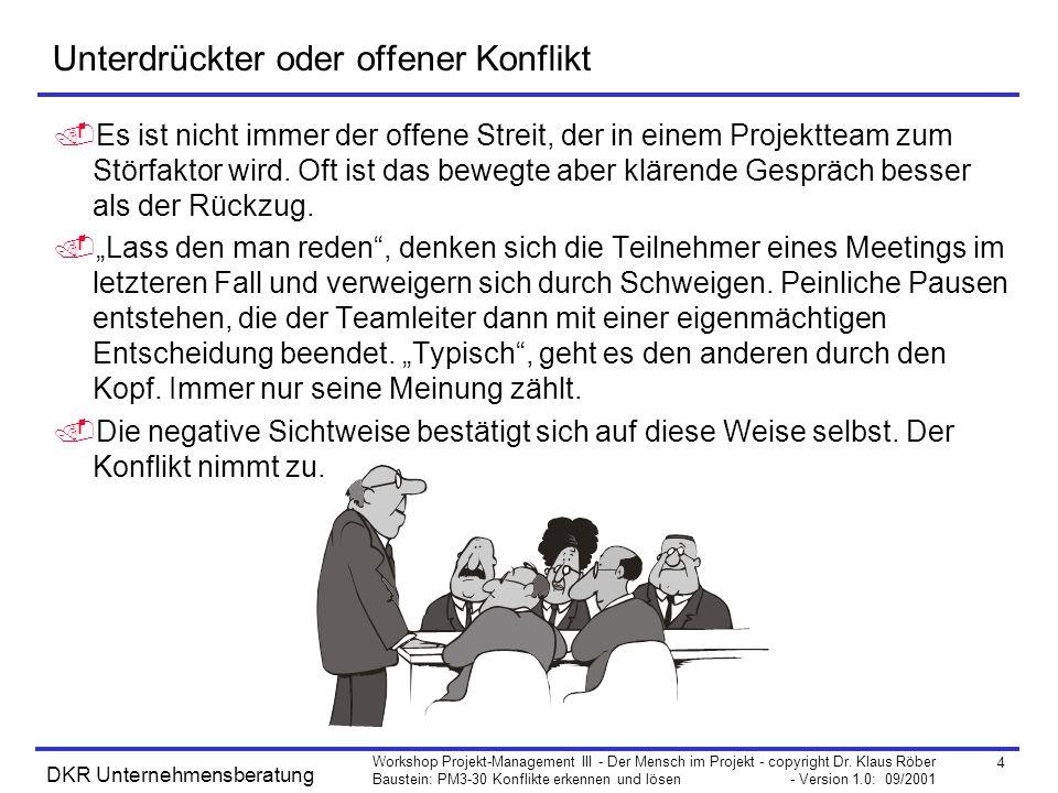 4 Workshop Projekt-Management III - Der Mensch im Projekt - copyright Dr. Klaus Röber Baustein: PM3-30 Konflikte erkennen und lösen - Version 1.0: 09/