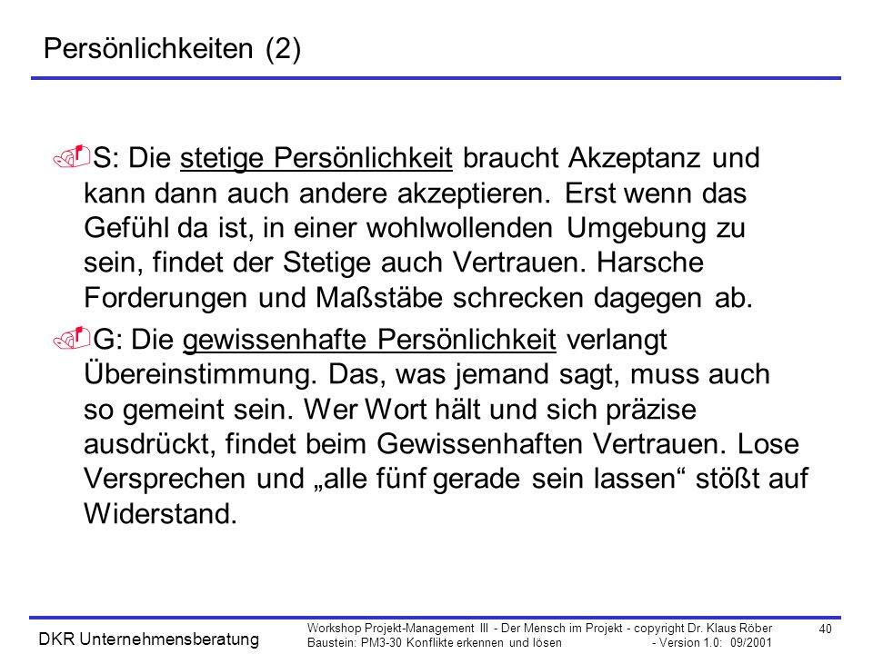 40 Workshop Projekt-Management III - Der Mensch im Projekt - copyright Dr. Klaus Röber Baustein: PM3-30 Konflikte erkennen und lösen - Version 1.0: 09