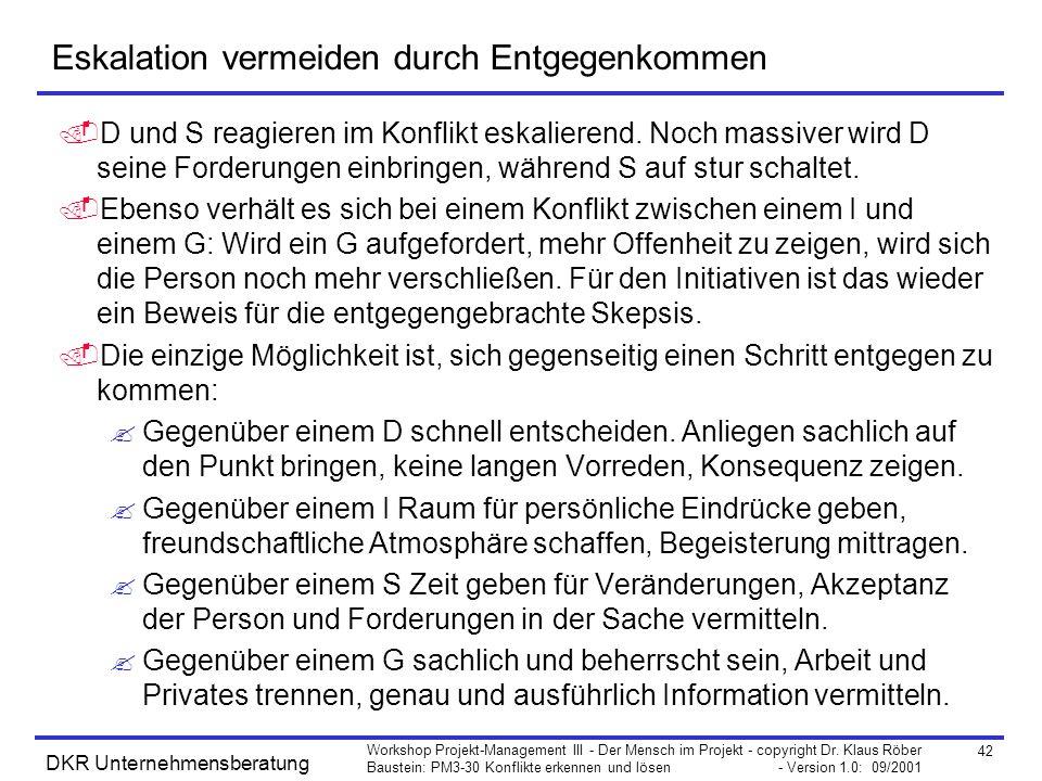 42 Workshop Projekt-Management III - Der Mensch im Projekt - copyright Dr. Klaus Röber Baustein: PM3-30 Konflikte erkennen und lösen - Version 1.0: 09