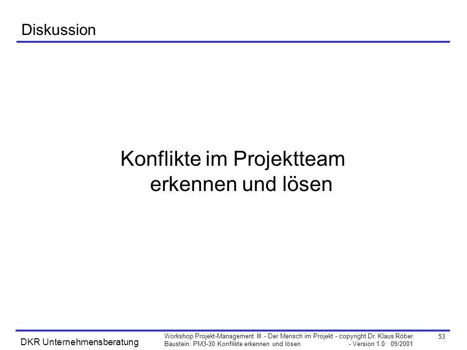 53 Workshop Projekt-Management III - Der Mensch im Projekt - copyright Dr. Klaus Röber Baustein: PM3-30 Konflikte erkennen und lösen - Version 1.0: 09