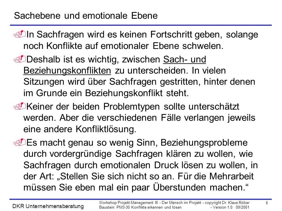 6 Workshop Projekt-Management III - Der Mensch im Projekt - copyright Dr. Klaus Röber Baustein: PM3-30 Konflikte erkennen und lösen - Version 1.0: 09/