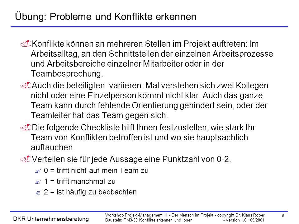 9 Workshop Projekt-Management III - Der Mensch im Projekt - copyright Dr. Klaus Röber Baustein: PM3-30 Konflikte erkennen und lösen - Version 1.0: 09/