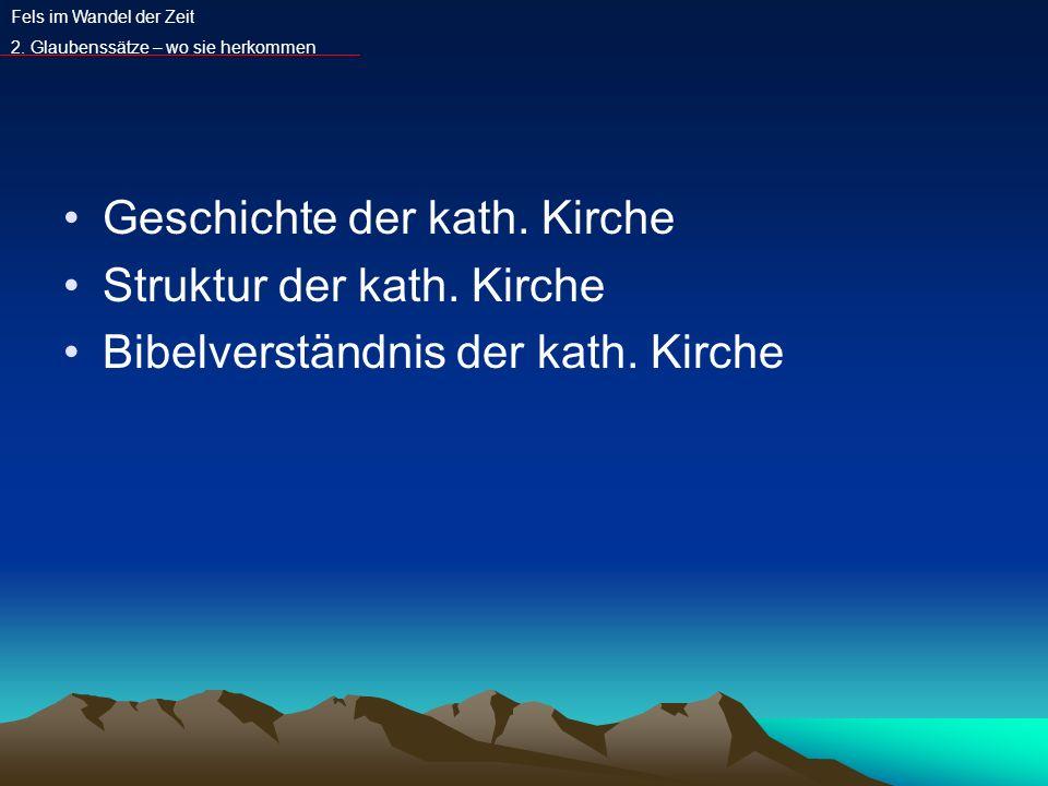Geschichte der kath. Kirche Struktur der kath. Kirche Bibelverständnis der kath. Kirche Fels im Wandel der Zeit 2. Glaubenssätze – wo sie herkommen