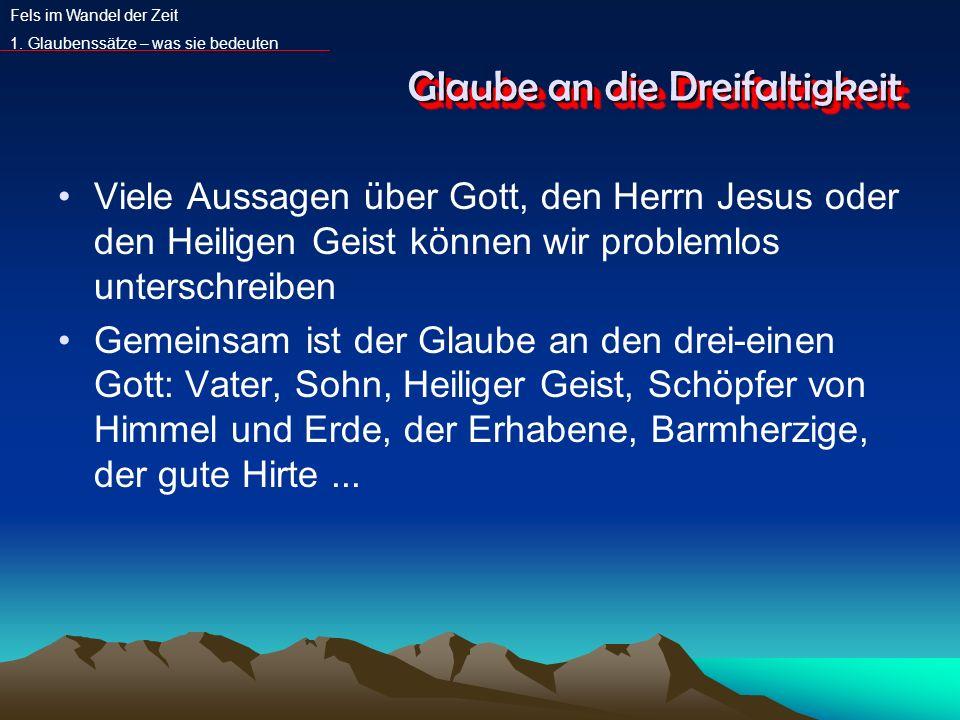 Glaube an die Dreifaltigkeit Viele Aussagen über Gott, den Herrn Jesus oder den Heiligen Geist können wir problemlos unterschreiben Gemeinsam ist der