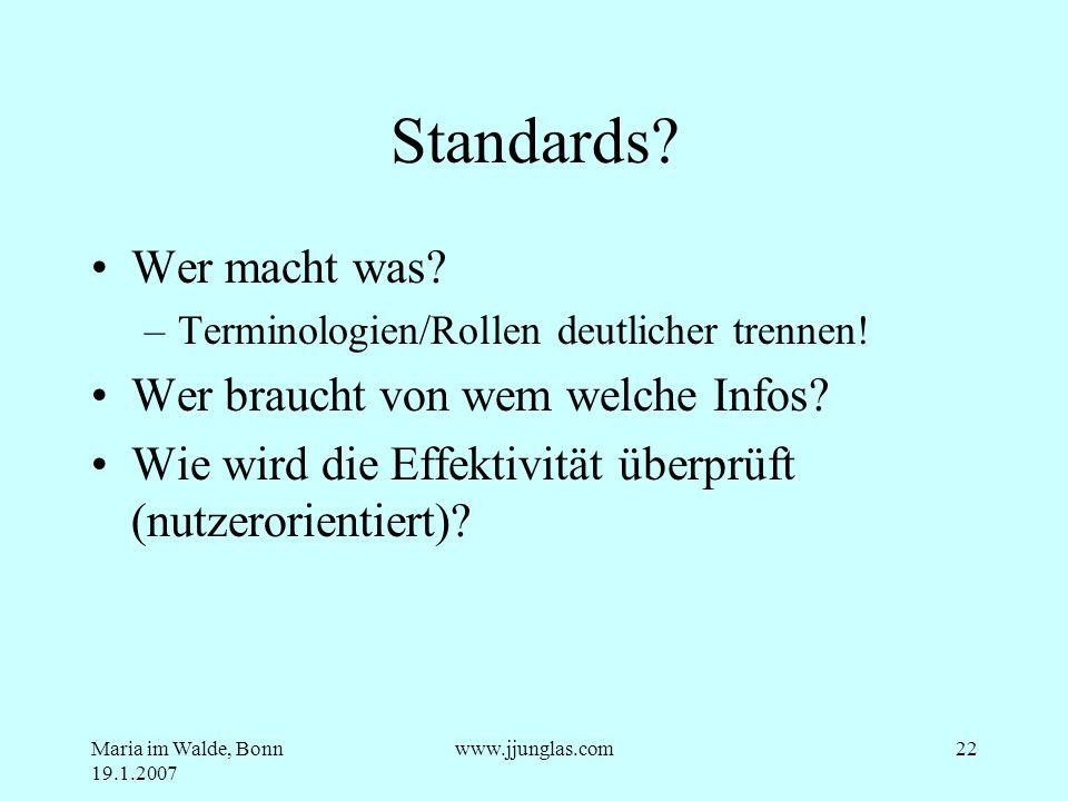 Maria im Walde, Bonn 19.1.2007 www.jjunglas.com22 Standards? Wer macht was? –Terminologien/Rollen deutlicher trennen! Wer braucht von wem welche Infos