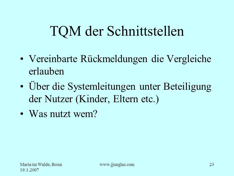Maria im Walde, Bonn 19.1.2007 www.jjunglas.com23 TQM der Schnittstellen Vereinbarte Rückmeldungen die Vergleiche erlauben Über die Systemleitungen un