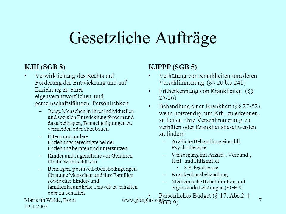 Maria im Walde, Bonn 19.1.2007 www.jjunglas.com7 Gesetzliche Aufträge KJH (SGB 8) Verwirklichung des Rechts auf Förderung der Entwicklung und auf Erzi