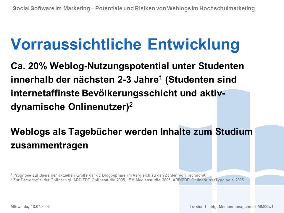 Social Software im Marketing – Potentiale und Risiken von Weblogs im Hochschulmarketing Mittweida, 18.07.2006Torsten Liebig, Medienmanagement MM00w1 Vorraussichtliche Entwicklung Ca.