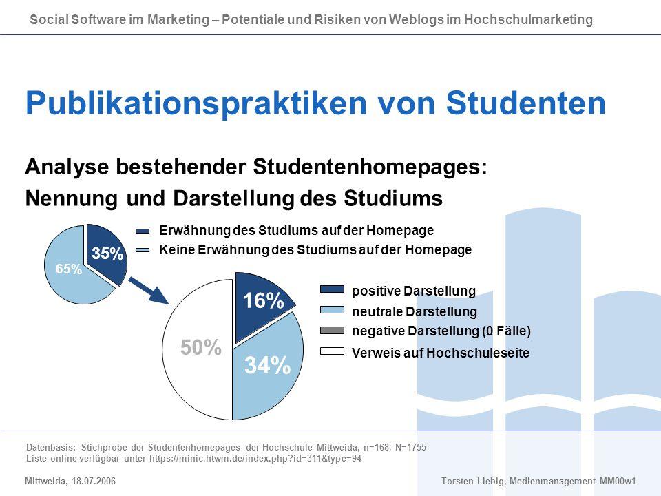 Social Software im Marketing – Potentiale und Risiken von Weblogs im Hochschulmarketing Mittweida, 18.07.2006Torsten Liebig, Medienmanagement MM00w1 P