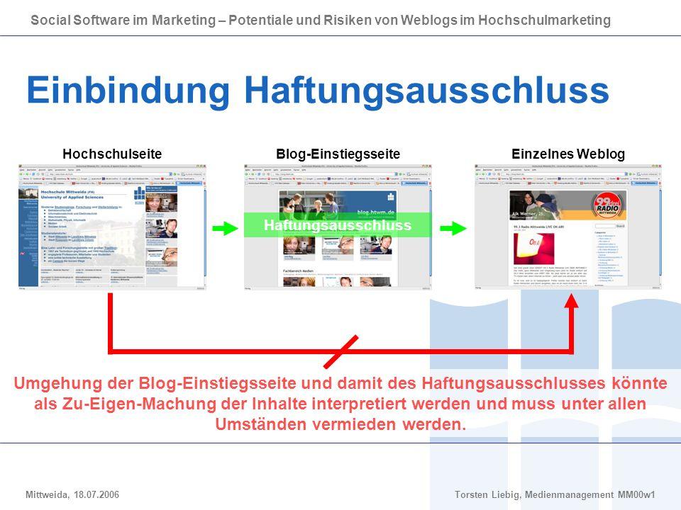 Social Software im Marketing – Potentiale und Risiken von Weblogs im Hochschulmarketing Mittweida, 18.07.2006Torsten Liebig, Medienmanagement MM00w1 E
