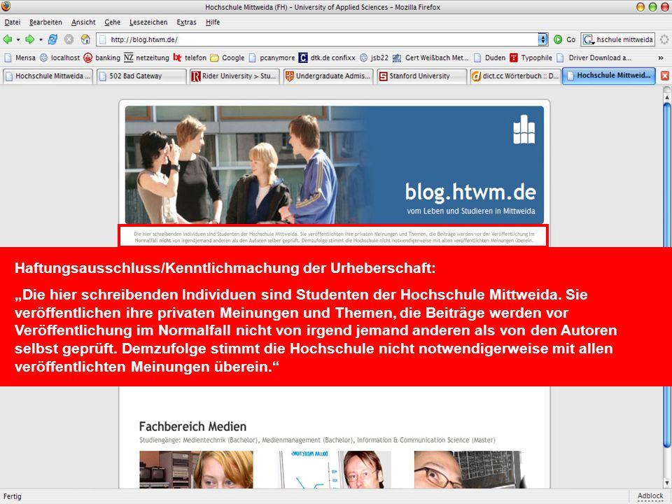Social Software im Marketing – Potentiale und Risiken von Weblogs im Hochschulmarketing Mittweida, 18.07.2006Torsten Liebig, Medienmanagement MM00w1 H