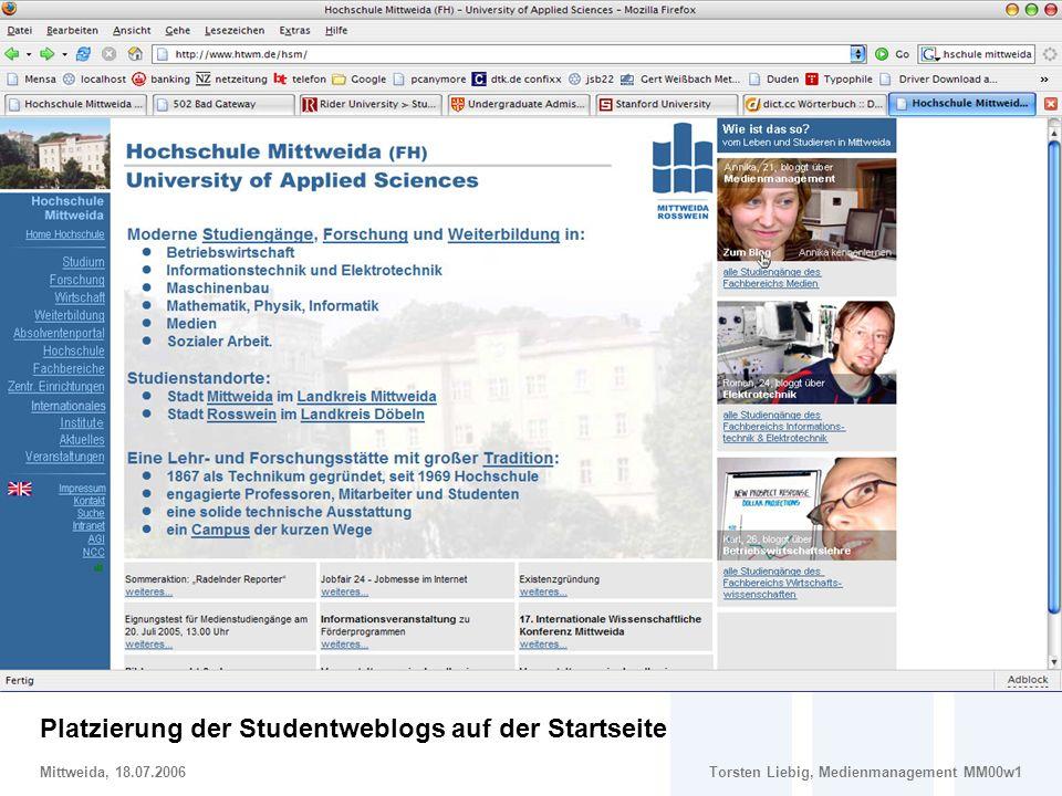 Social Software im Marketing – Potentiale und Risiken von Weblogs im Hochschulmarketing Mittweida, 18.07.2006Torsten Liebig, Medienmanagement MM00w1 G