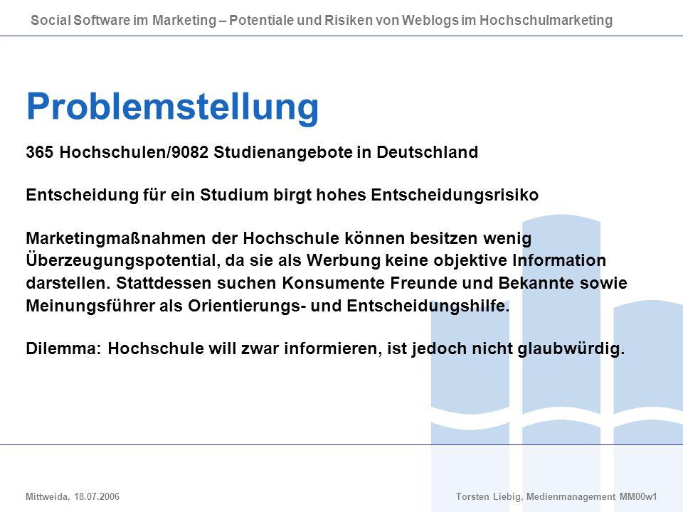 Social Software im Marketing – Potentiale und Risiken von Weblogs im Hochschulmarketing Mittweida, 18.07.2006Torsten Liebig, Medienmanagement MM00w1 Entwurf eines einzelnen Studentenweblogs
