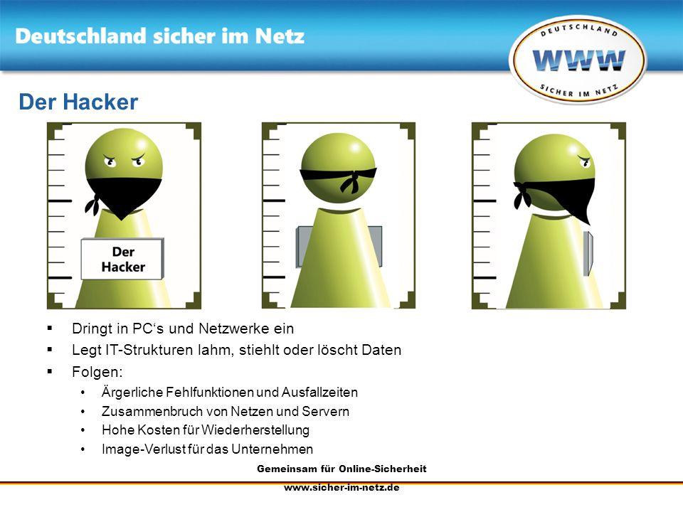 Gemeinsam für Online-Sicherheit www.sicher-im-netz.de Der Hacker Dringt in PCs und Netzwerke ein Legt IT-Strukturen lahm, stiehlt oder löscht Daten Fo