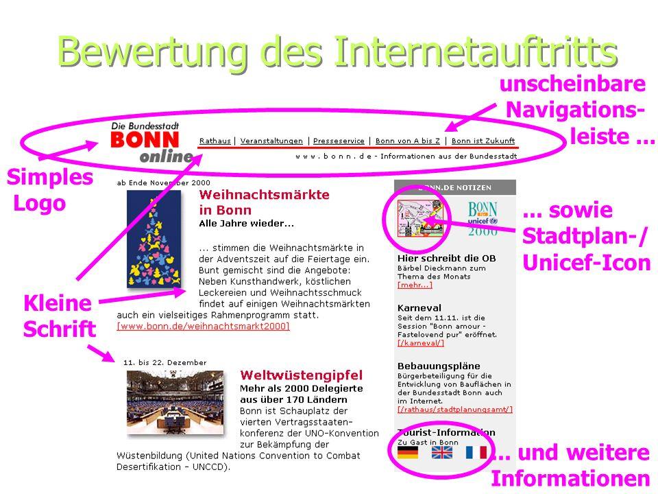 Bewertung des Internetauftritts Simples Logo unscheinbare Navigations- leiste...... sowie Stadtplan-/ Unicef-Icon Kleine Schrift... und weitere Inform