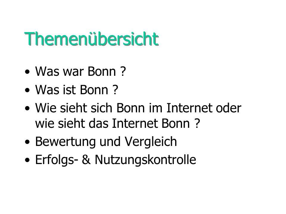 Themenübersicht Was war Bonn ? Was ist Bonn ? Wie sieht sich Bonn im Internet oder wie sieht das Internet Bonn ? Bewertung und Vergleich Erfolgs- & Nu