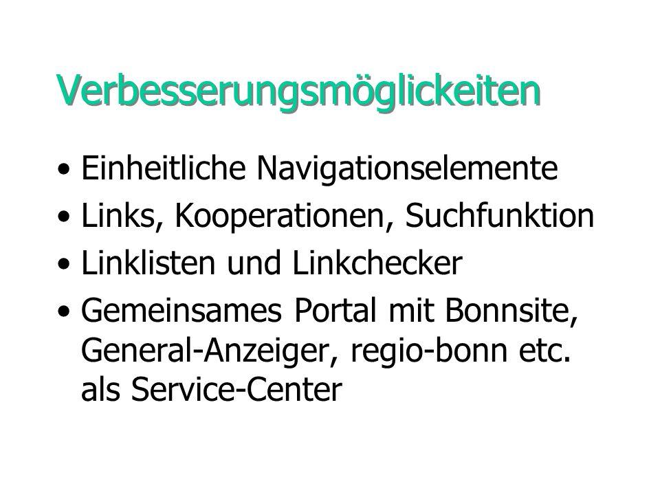 Verbesserungsmöglickeiten Einheitliche Navigationselemente Links, Kooperationen, Suchfunktion Linklisten und Linkchecker Gemeinsames Portal mit Bonnsi