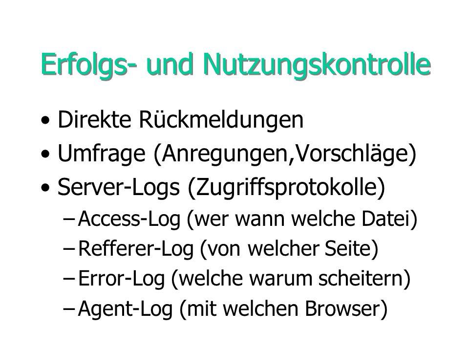 Erfolgs- und Nutzungskontrolle Direkte Rückmeldungen Umfrage (Anregungen,Vorschläge) Server-Logs (Zugriffsprotokolle) –Access-Log (wer wann welche Dat