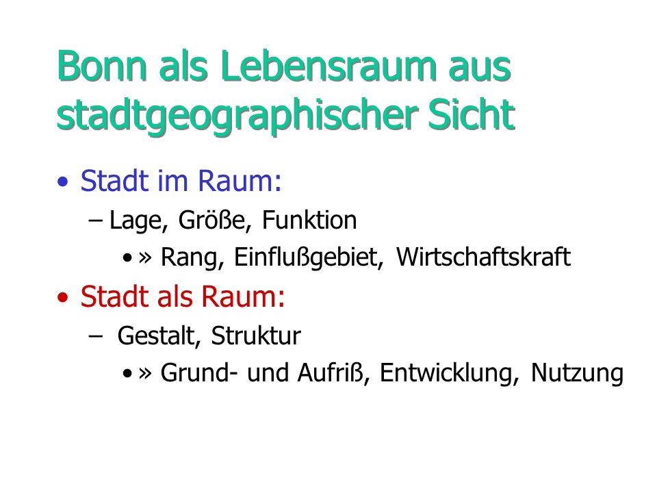 Stadt Bonn im Raum: Lage In Niederrheinischen Bucht am Rhein gelegen (tiefster Punkt an der Sieg 48 m) Umgeben von Vorgebirge (158 m) Kottenforst (Sonnenberg 179 m) Drachenfelser Ländchen (Hohenberg 263 m) Pleiser Ländchen (Paffelsberg 194 m) Siebengebirge (Großer Ölberg 460 m)