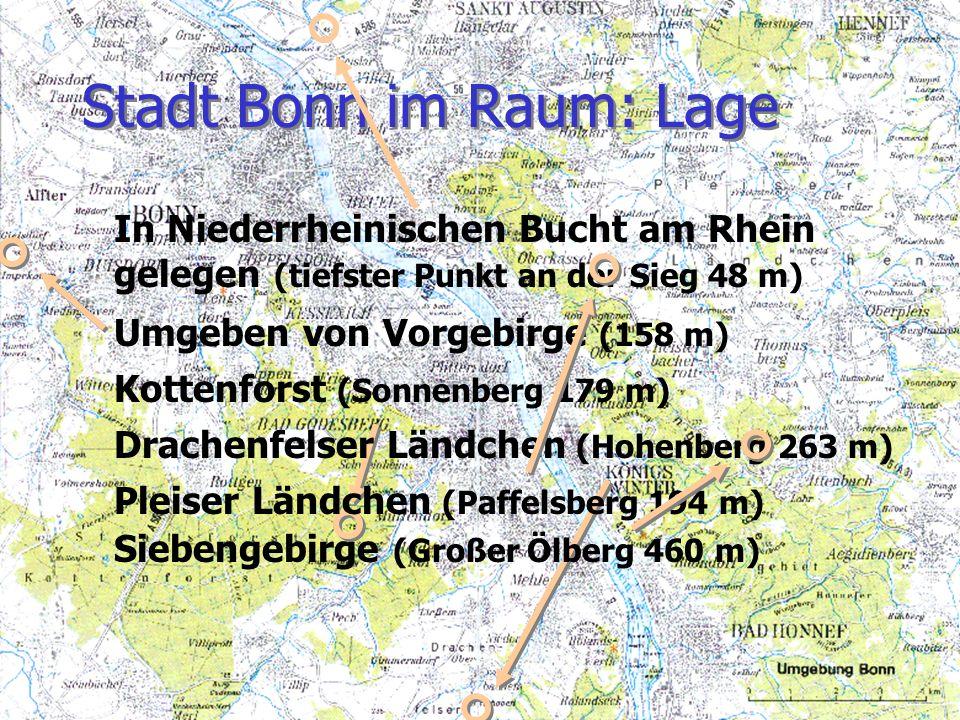 Stadt Bonn im Raum: Lage In Niederrheinischen Bucht am Rhein gelegen (tiefster Punkt an der Sieg 48 m) Umgeben von Vorgebirge (158 m) Kottenforst (Son