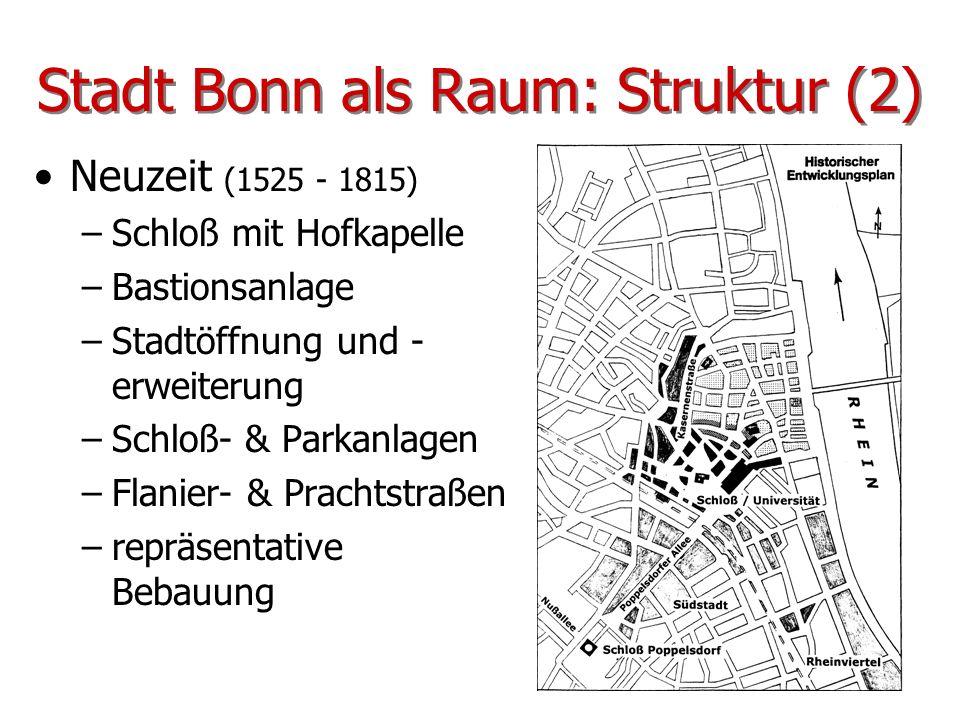 Stadt Bonn als Raum: Struktur (2) Neuzeit (1525 - 1815) –Schloß mit Hofkapelle –Bastionsanlage –Stadtöffnung und - erweiterung –Schloß- & Parkanlagen
