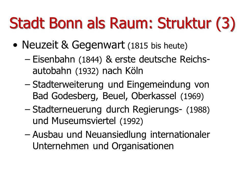 Stadt Bonn als Raum: Struktur (3) Neuzeit & Gegenwart (1815 bis heute) –Eisenbahn (1844) & erste deutsche Reichs- autobahn (1932) nach Köln –Stadterwe