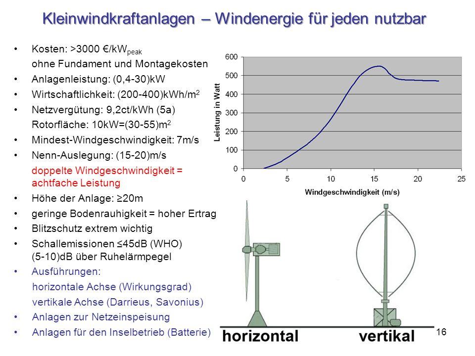 Kleinwindkraftanlagen – Windenergie für jeden nutzbar Kosten: >3000 /kW peak ohne Fundament und Montagekosten Anlagenleistung: (0,4-30)kW Wirtschaftli