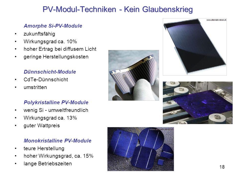 18 PV-Modul-Techniken - Kein Glaubenskrieg Amorphe Si-PV-Module zukunftsfähig Wirkungsgrad ca. 10% hoher Ertrag bei diffusem Licht geringe Herstellung