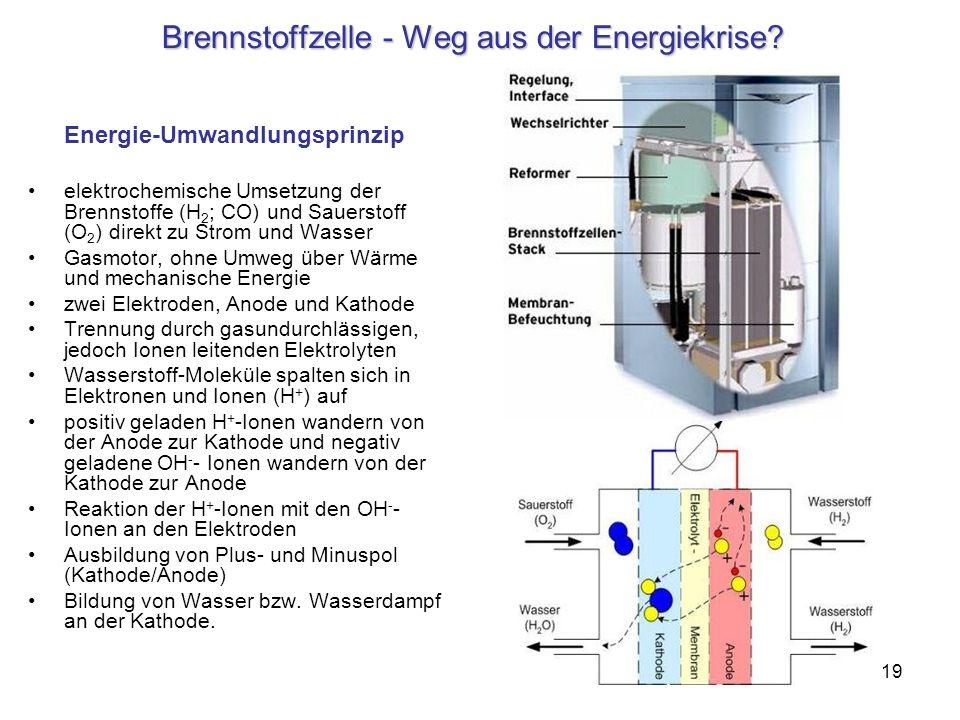 19 Brennstoffzelle - Weg aus der Energiekrise? Energie-Umwandlungsprinzip elektrochemische Umsetzung der Brennstoffe (H 2 ; CO) und Sauerstoff (O 2 )
