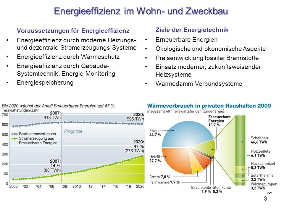 3 Energieeffizienz im Wohn- und Zweckbau Voraussetzungen für Energieeffizienz Energieeffizienz durch moderne Heizungs- und dezentrale Stromerzeugungs-