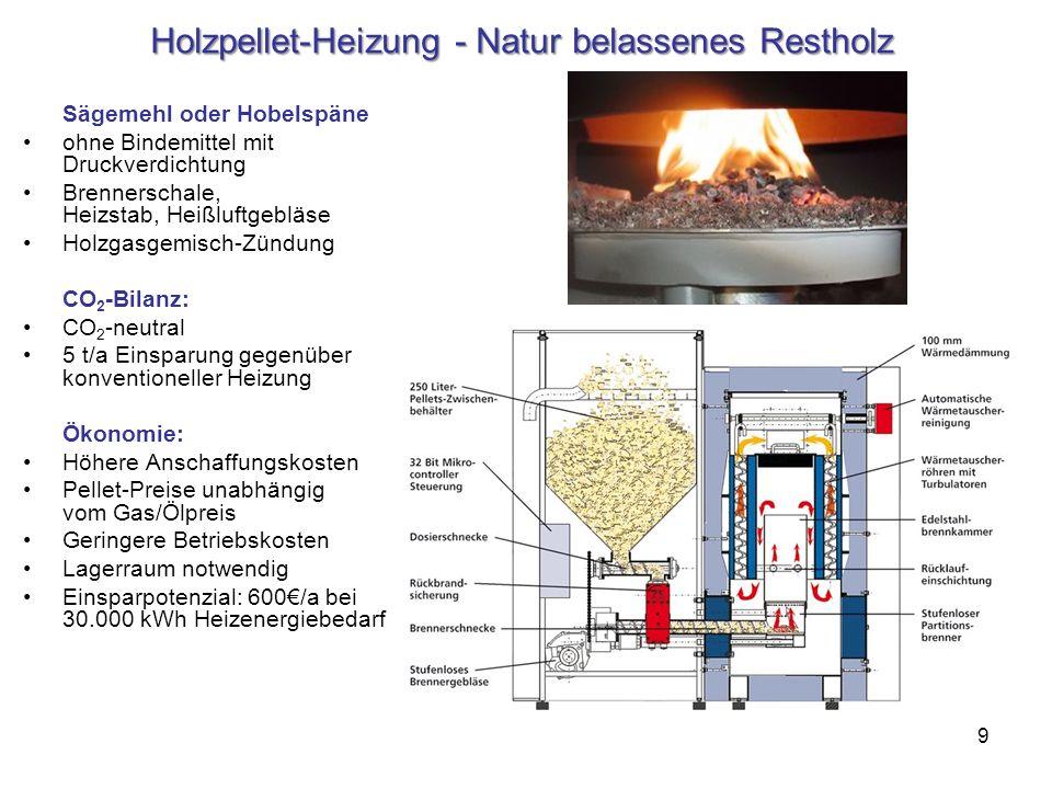 9 Holzpellet-Heizung - Natur belassenes Restholz Sägemehl oder Hobelspäne ohne Bindemittel mit Druckverdichtung Brennerschale, Heizstab, Heißluftgeblä
