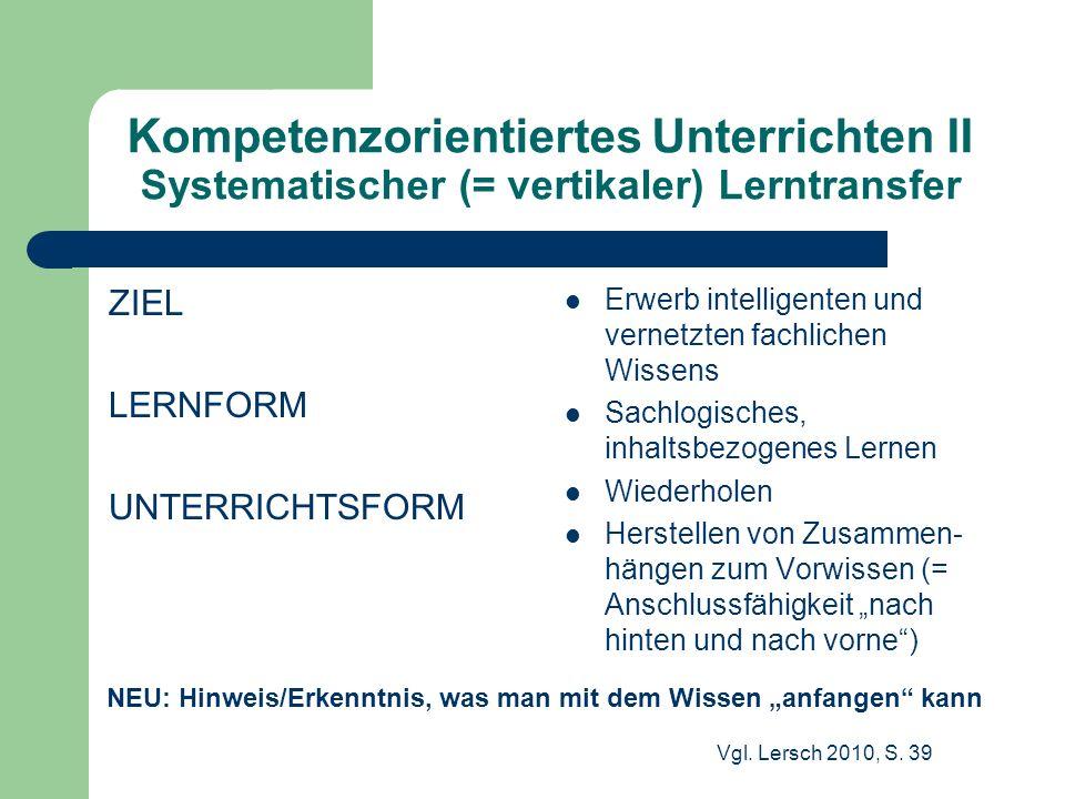 Kompetenzorientiertes Unterrichten II Systematischer (= vertikaler) Lerntransfer ZIEL LERNFORM UNTERRICHTSFORM Erwerb intelligenten und vernetzten fac