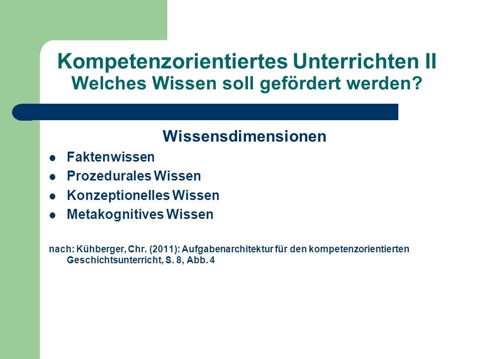 Kompetenzorientiertes Unterrichten II Welches Wissen soll gefördert werden? Wissensdimensionen Faktenwissen Prozedurales Wissen Konzeptionelles Wissen