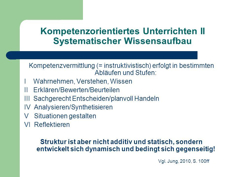 Kompetenzorientiertes Unterrichten II Systematischer Wissensaufbau Kompetenzvermittlung (= instruktivistisch) erfolgt in bestimmten Abläufen und Stufe