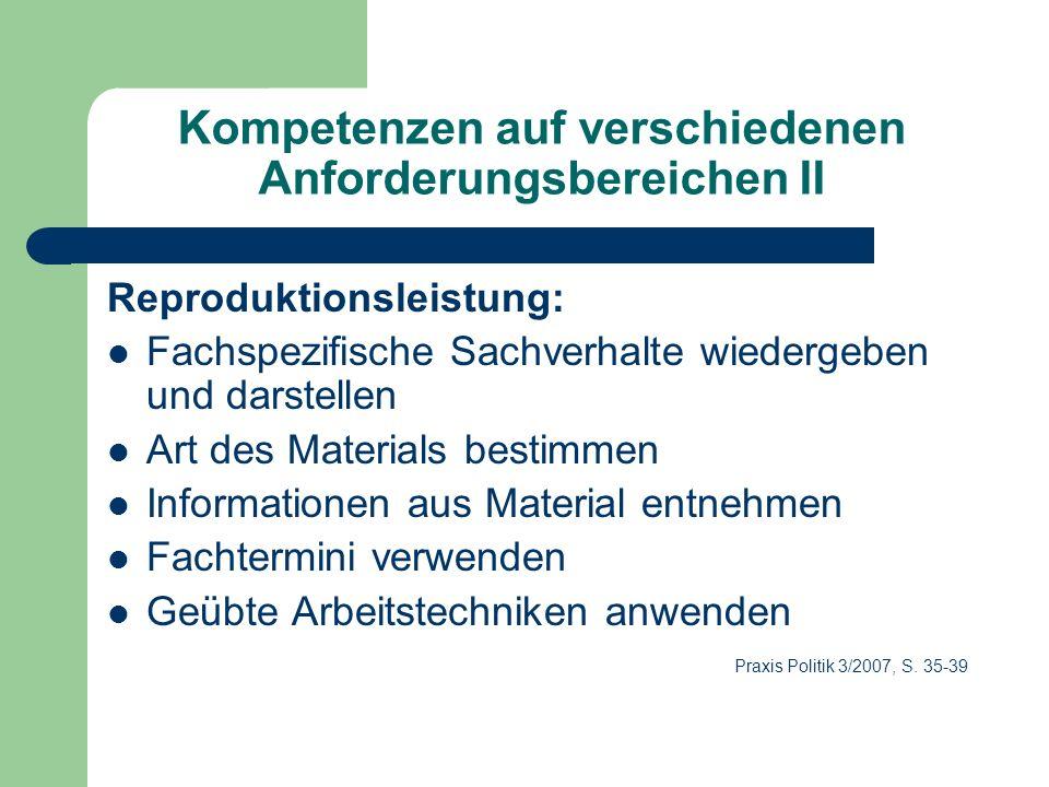 Kompetenzen auf verschiedenen Anforderungsbereichen II Reproduktionsleistung: Fachspezifische Sachverhalte wiedergeben und darstellen Art des Material