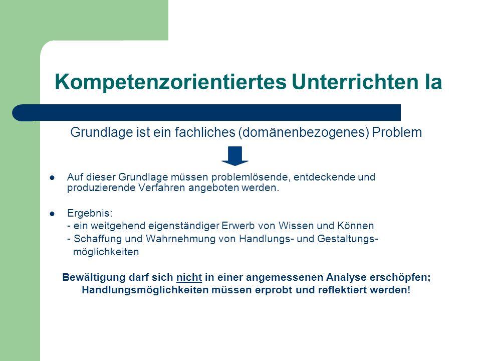 Kompetenzorientiertes Unterrichten Ia Grundlage ist ein fachliches (domänenbezogenes) Problem Auf dieser Grundlage müssen problemlösende, entdeckende