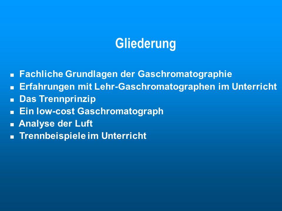 Gliederung Fachliche Grundlagen der Gaschromatographie Erfahrungen mit Lehr-Gaschromatographen im Unterricht Das Trennprinzip Ein low-cost Gaschromato
