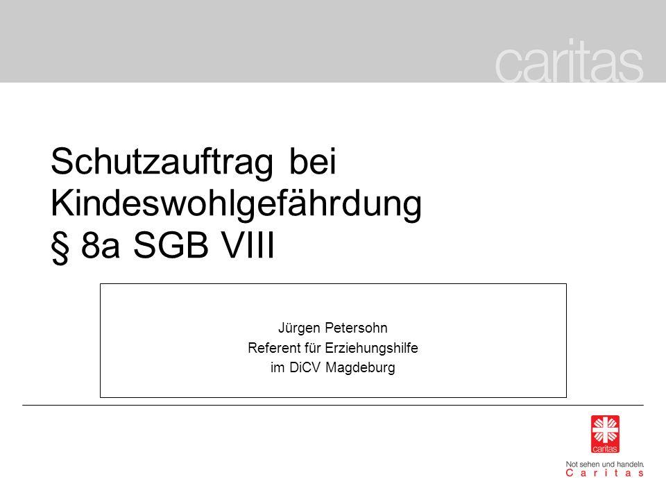 Schutzauftrag bei Kindeswohlgefährdung § 8a SGB VIII Jürgen Petersohn Referent für Erziehungshilfe im DiCV Magdeburg