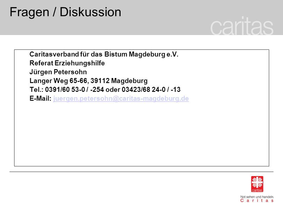 Fragen / Diskussion Caritasverband für das Bistum Magdeburg e.V. Referat Erziehungshilfe Jürgen Petersohn Langer Weg 65-66, 39112 Magdeburg Tel.: 0391