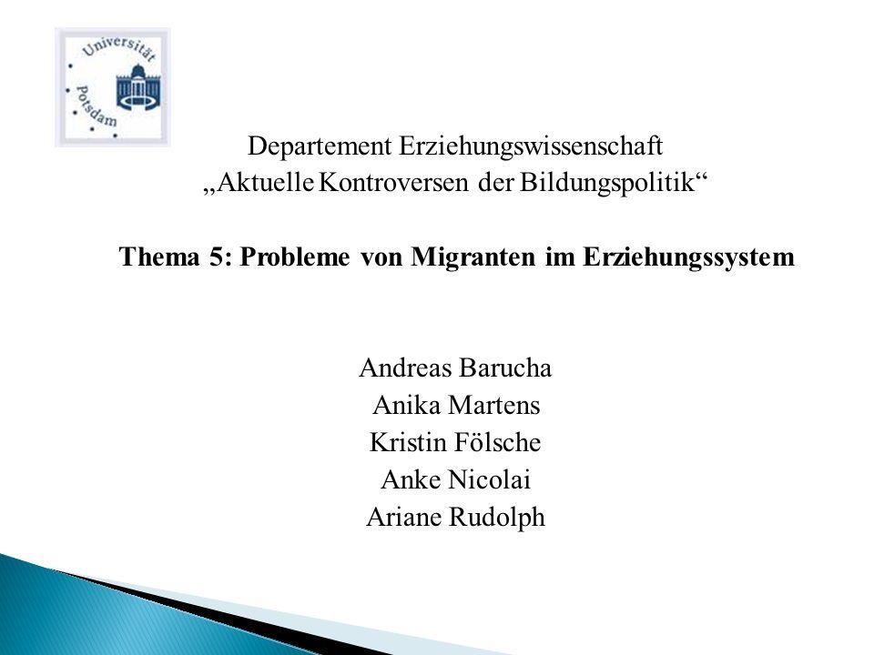 1.Einführung 2.Migration Definition Migrationsformen Gründe 3.Integration durch Bildung ?.
