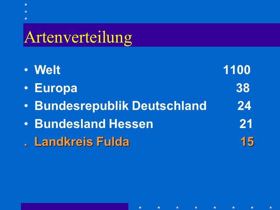 Artenverteilung Welt 1100 Europa 38 Bundesrepublik Deutschland 24 Bundesland Hessen 21. Landkreis Fulda 15