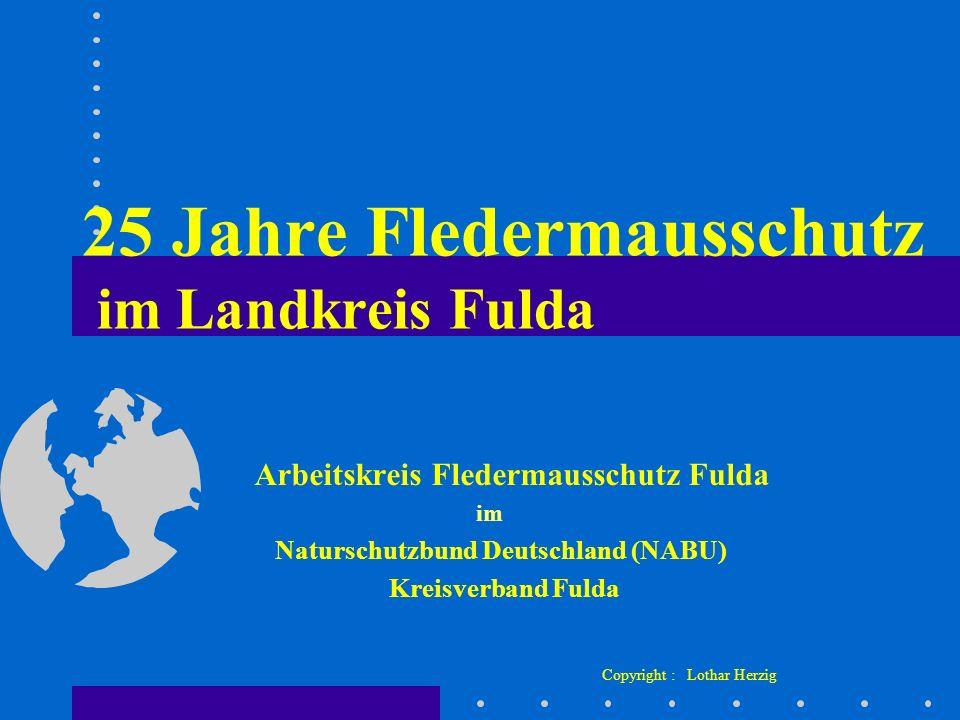 25 Jahre Fledermausschutz im Landkreis Fulda Arbeitskreis Fledermausschutz Fulda im Naturschutzbund Deutschland (NABU) Kreisverband Fulda Copyright :