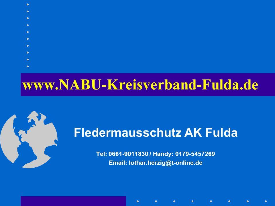 www.NABU-Kreisverband-Fulda.de Fledermausschutz AK Fulda Tel: 0661-9011830 / Handy: 0179-5457269 Email: lothar.herzig@t-online.de