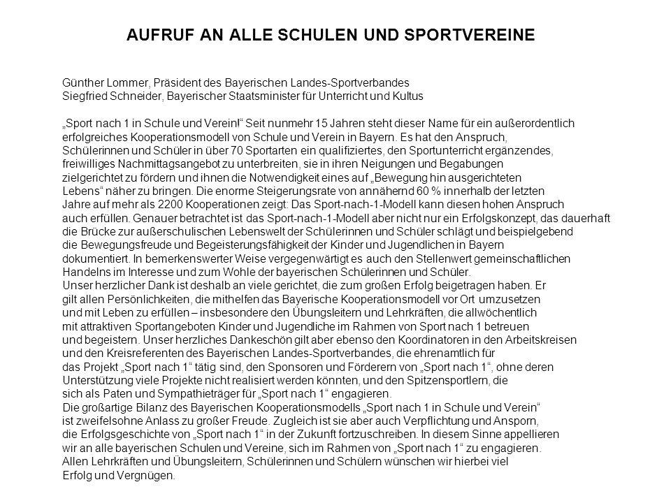 Grundidee und Zielsetzung Pflichtsportunterricht, Schulsport-Wettbewerbe, Sport nach 1 und das im Jahr 2000 eingeführte Modellprojekt Bewegte Schule bilden das Gesamtkonzept in Bayern für tägliche körperliche Aktivitäten bei Schülern und Schülerinnen.