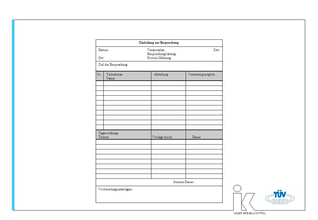 KAISER BRB-BAUCONTROL Einladung zur Besprechung Datum:Veranstalter: Zeit: Besprechungsleitung: Ort:Protokollführung: Ziel der Besprechung: Summe Dauer
