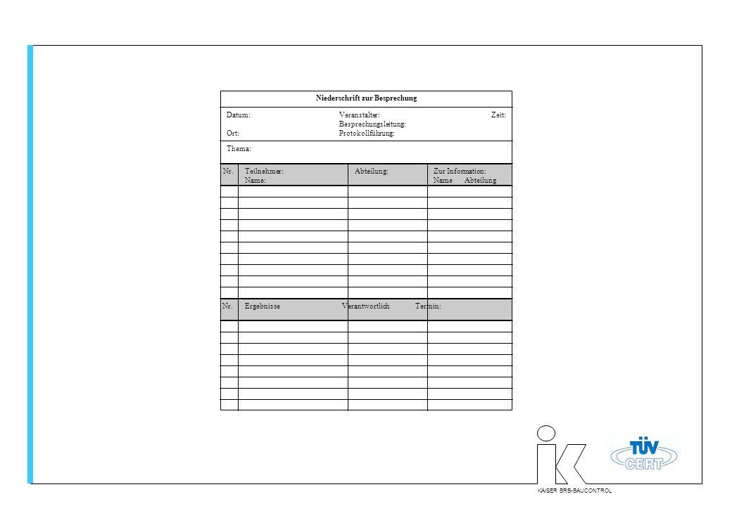 KAISER BRB-BAUCONTROL Niederschrift zur Besprechung Datum:Veranstalter: Zeit: Besprechungsleitung: Ort:Protokollführung: Thema: Nr.Teilnehmer: Name: A