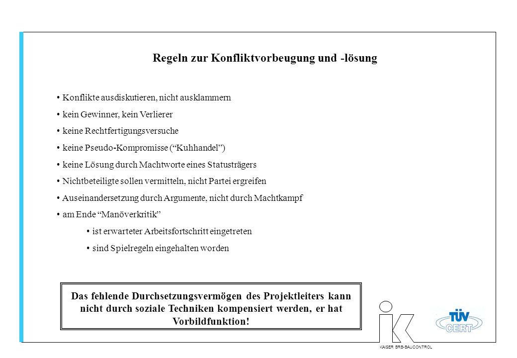 KAISER BRB-BAUCONTROL Regeln zur Konfliktvorbeugung und -lösung Konflikte ausdiskutieren, nicht ausklammern kein Gewinner, kein Verlierer keine Rechtf